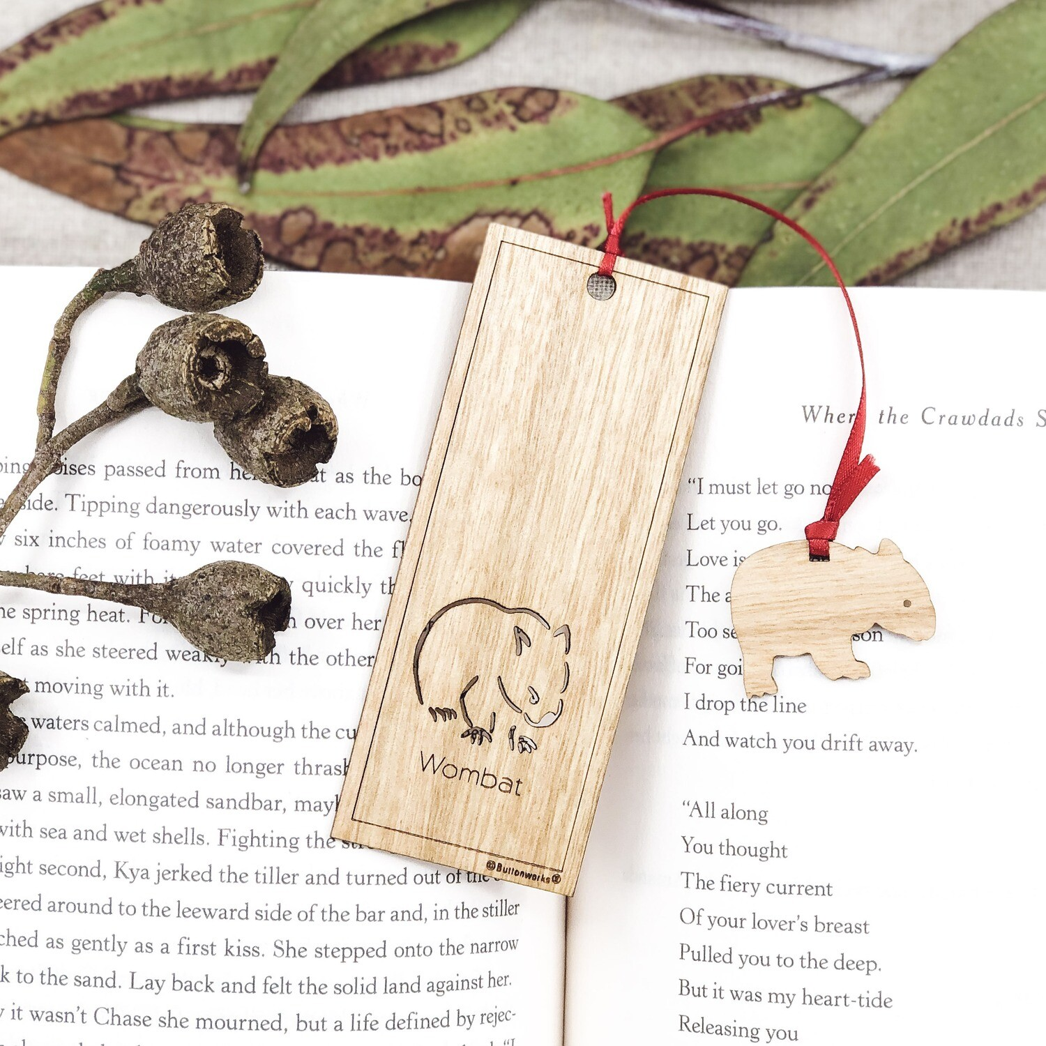 Wooden Book Mark - Wombat