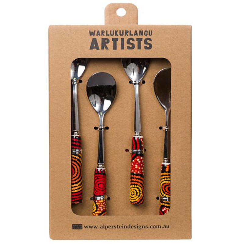 Aboriginal Art Spoon Set of 4 Teddy G