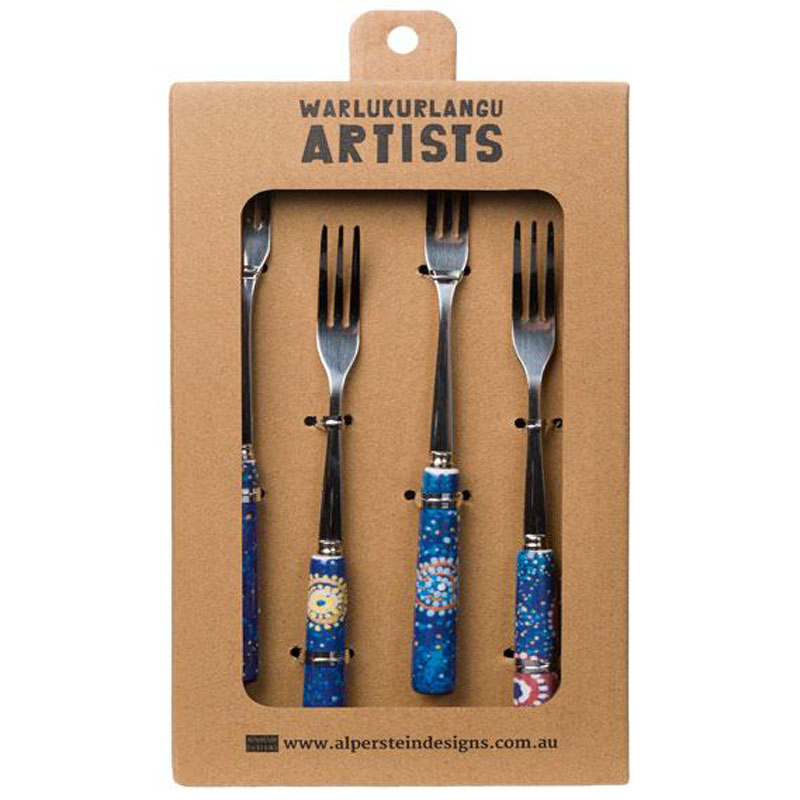 Aboriginal Art Fork Set of 4 Alma G