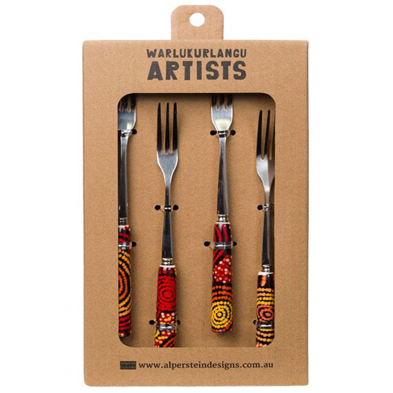 Aboriginal Art Fork Set of 4 Teddy G