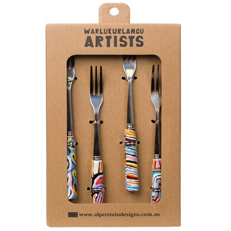 Aboriginal Art Fork Set of 4 Judy W