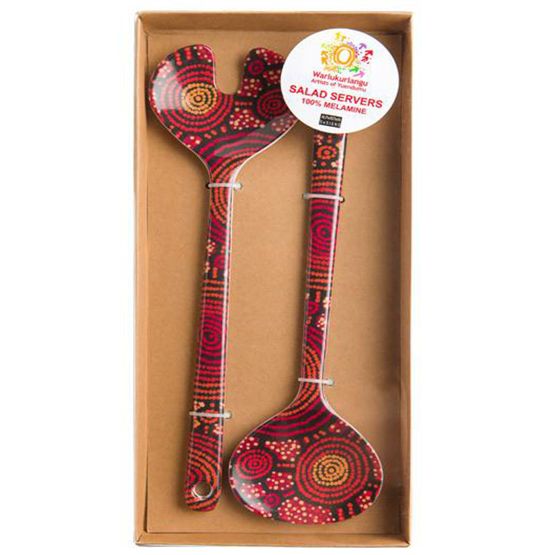 Aboriginal Art Salad Servers Teddy G