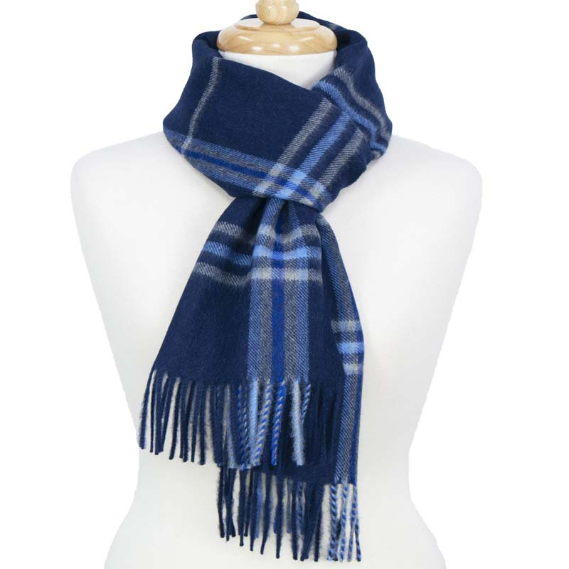 Alpaca Scarf Check Blue