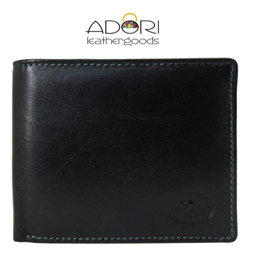Bi-fold Wallet Black (Green Stitch) KWC2094