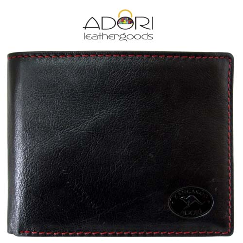 Bi-fold Wallet Black (Red Stitch) KWC2094