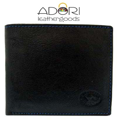 Bi-fold Wallet Black (Blue Stitch) KWC2096