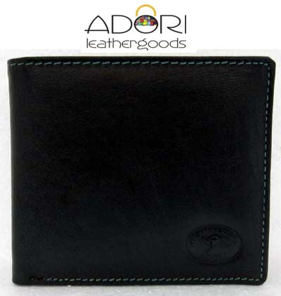 Bi-fold Wallet Black (Green Stitch) KWC2096