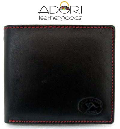 Bi-fold Wallet Black (Red Stitch) KWC2096